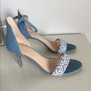NWOT B.P. Open Toe Denim Heeled Sandal